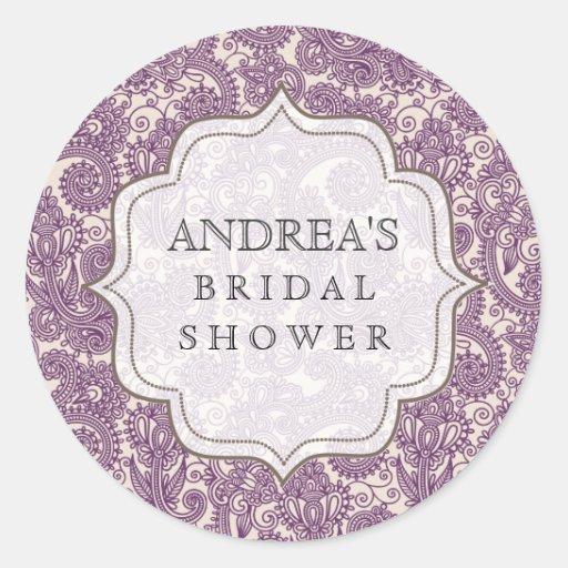 Purple Bridal Shower Dessert Table Tag Label Round Sticker