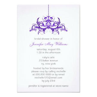 "Purple Bridal Shower Invitations 5"" X 7"" Invitation Card"