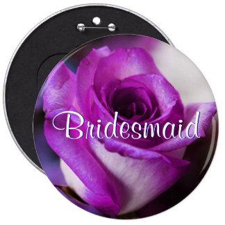 Purple Bridesmaid Rose 6 Cm Round Badge