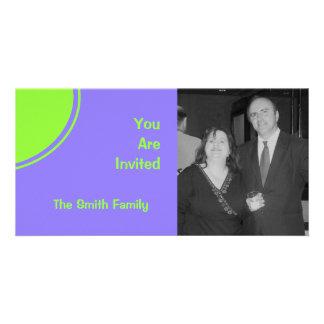 purple bright green mod party invite picture card
