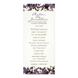 Purple Brown Summer Leaves Wedding Programs Rack Card