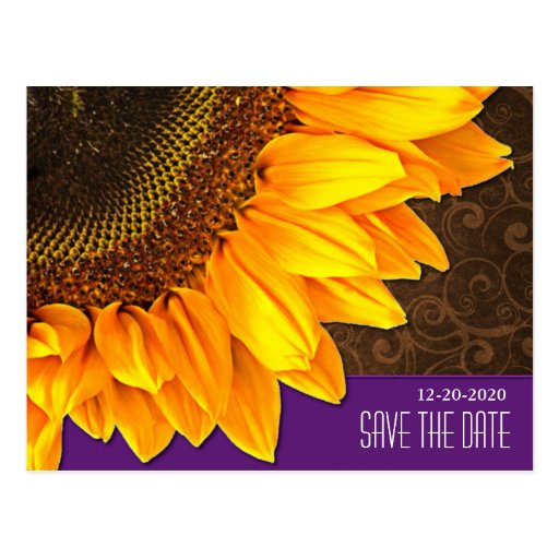 Purple & Brown Sunflower Wedding Save the Dates Postcard