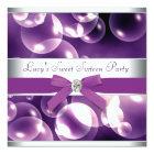 Purple Bubbles Purple Sweet 16 Birthday Party Card