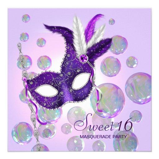 Purple Bubbles Purple Sweet Sixteen Masquerade Invitations