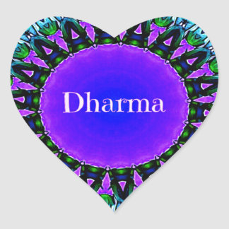 Purple Buddha Truths Darma Mandala Pattern Heart Sticker