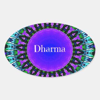 Purple Buddha Truths Darma Mandala Pattern Oval Sticker