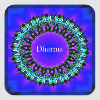 Purple Buddha Truths Darma Mandala Pattern Square Sticker
