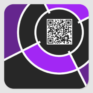 purple bullseye QR code Square Sticker