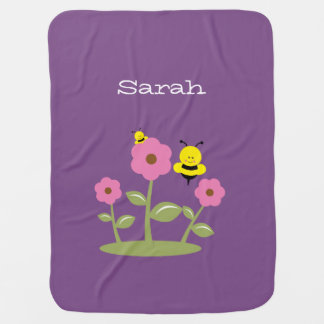 Purple Bumble Bee Baby Blanket