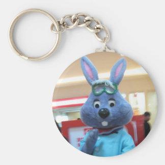 purple bunny basic round button key ring