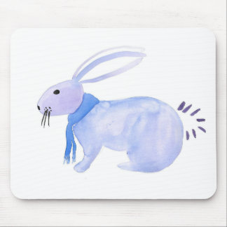 Purple Bunny In A Blue Scarf Mouse Pad