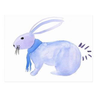 Purple Bunny In A Blue Scarf Postcard