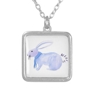 Purple Bunny In A Blue Scarf Silver Plated Necklace