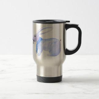 Purple Bunny In A Blue Scarf Travel Mug