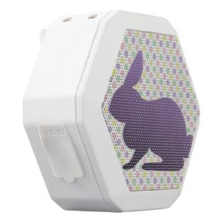 Purple Bunny on Pastel Dots White Boombot Rex Bluetooth Speaker