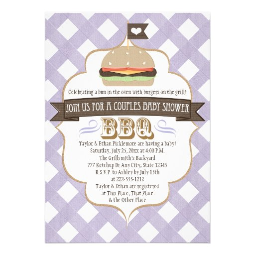 Purple Burger Couples BBQ Baby Shower Invitations