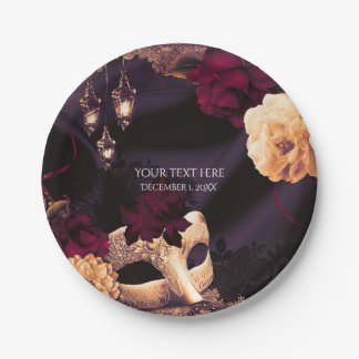 Purple & Burgundy Floral & Lace Masquerade Party 7 Inch Paper Plate