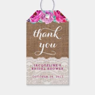 Purple Burlap Lace Favour Tags, Bridal, Baby Gift Tags