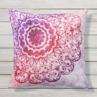 Purple Burn Out Mandala Design Outdoor Cushion