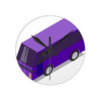 Purple Bus Round Clock