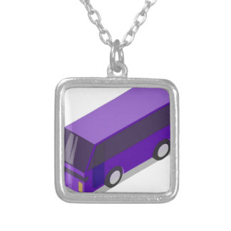 Purple Bus Silver Plated Necklace