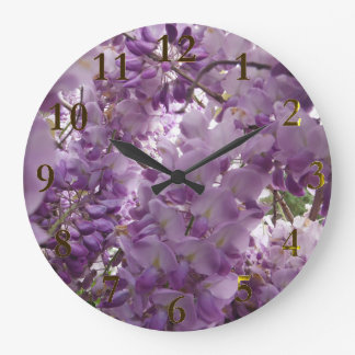 purple bush of flowers large clock