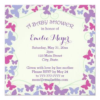 Purple Butterflies Baby Shower Invitation