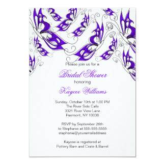 Purple Butterflies Bridal Shower Invitation