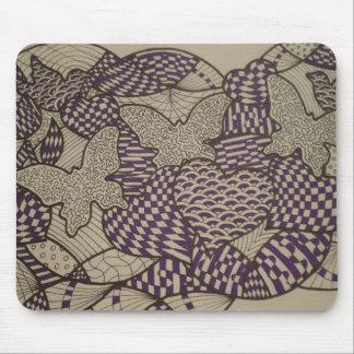 Purple Butterflies Doodle Mousepad