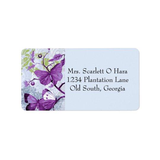 Purple Butterflies on a Branch Label