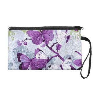 Purple Butterflies on a Branch Wristlet Clutch