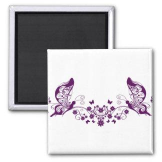 Purple Butterflies Square Magnet