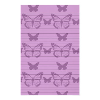 Purple Butterflies Stationery