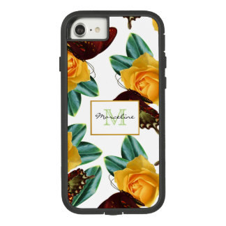 Purple Butterflies & Yellow Roses with Name Case-Mate Tough Extreme iPhone 8/7 Case