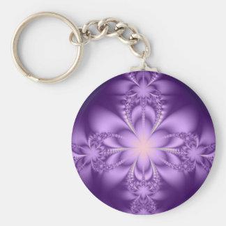 Purple butterflower basic round button key ring