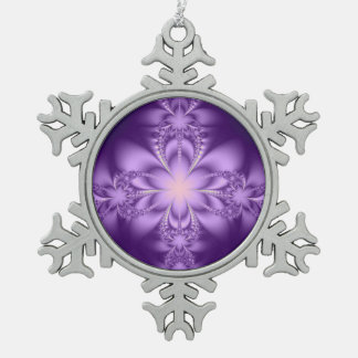 Purple butterflower pewter snowflake decoration
