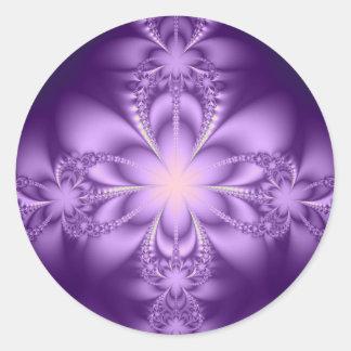Purple butterflower round sticker
