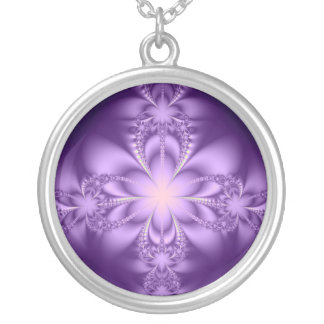 Purple butterflower silver plated necklace
