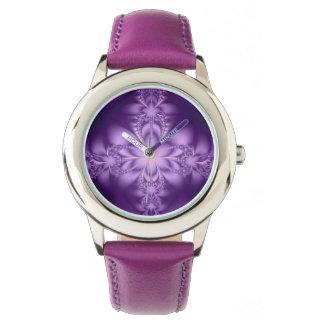 Purple butterflower wrist watch