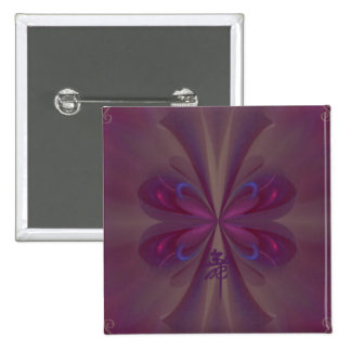 Purple Butterfly Abstract Art 15 Cm Square Badge