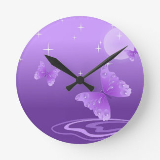 Purple Butterfly Animals Beautiful Love Destiny Round Clock