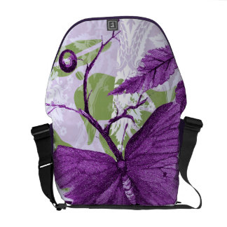 Purple Butterfly at the Window Messenger Bags