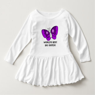 Purple Butterfly Best Big Sister Toddler Dress