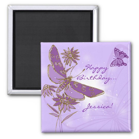 Purple Butterfly Birthday Magnet