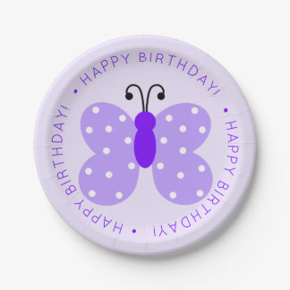 Purple Butterfly Birthday Party Paper Plate