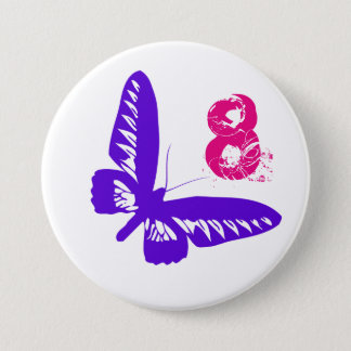 Purple butterfly button for age 8.