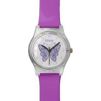 Purple Butterfly Custom Wrist Watch