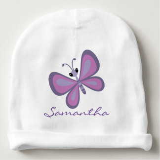 Purple Butterfly Design Infant Hat Baby Beanie
