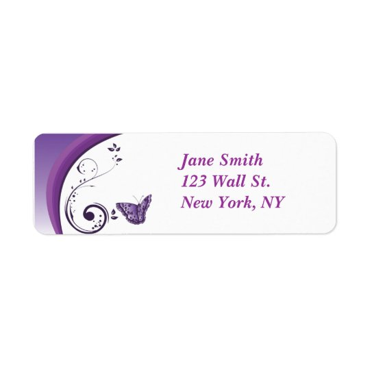 Purple Butterfly Design Return Address Label