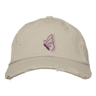 Purple butterfly embroidered women's hat